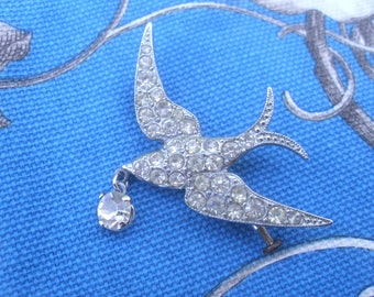 An Unusual Vintage French Diamante Encrusted Swallow Bird Brooch.Love,Faithfulness,1950s