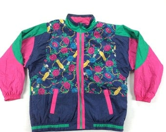 Active Frontier Nylon Windbreaker Jacket w/ Shoulder Pads Size XL Nylon VTG 80s 90s Perfume Bottle Abstract Print Vaporwave