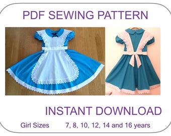 TEEN SIZES! Alice in Wonderland costume pattern. Dress and apron PDF pattern. Alice Cosplay Halloween costume pattern girls. Alice costume.