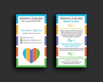 Rodan and Fields Mini Facial Card, Rodan and Fields Give It A Glow, Fast Personalized, Rodan and Fields Business Cards, RF14