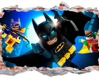 Batman and Batgirl Smashed Wall Sticker, Wall Decals