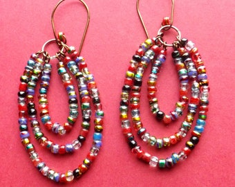 Seed Bead Love Earrings