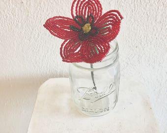 French Beaded Poppy