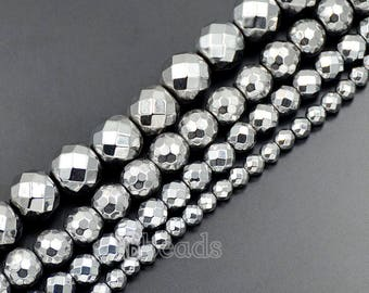Natural faceted Silver Hematite Beads, 4mm 6mm 8mm 10mm Round Hematite beads, Spacer Silver Hematite Gemstone beads, Jewelry Faceted beads