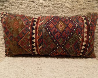 kilim lumbar pillow,12x24 inch,30x60cm,kilim pillow cover,home decor,decorative embroidery pillow,turkish kilim pillow,vintage pillow
