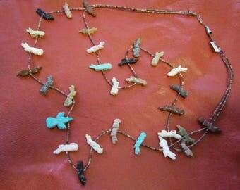 Native American fetish Animal necklace,  Navaho, Navajo, Hopi, southwest, tribal Jewellery, beaded necklace