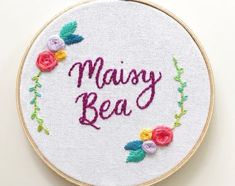 personalized name embroidery art // custom hand embroidery