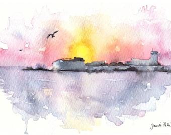 "Castle in the sea at sunset original watercolour title ""Sancti Petri Sunset"", sea, sympathy, sunset, castle"