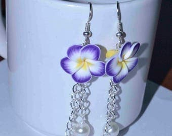 Frangipani Flower Silver Chain Tassel Earrings