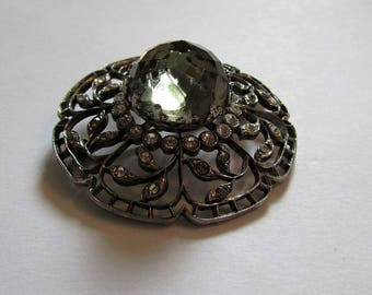 Vintage BROOCH in french sterling silver and smoky quartz