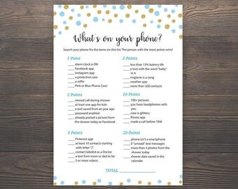 Blue Gold Baby Shower Games, Whats on your Phone, Printable Baby Shower, Boy Baby Shower, Cell Phone Game, Whats in your Phone, S005