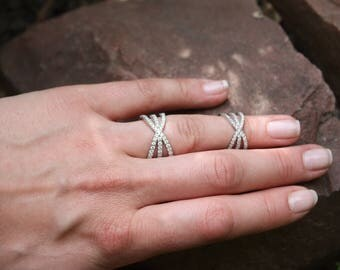 Double ring, Stacking ring, Double knuckle ring, Double finger ring, Chain double ring, Slave ring, Double chain ring, Sterling silver