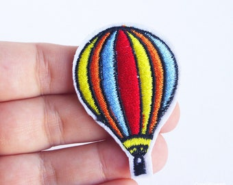 rainbow hot air balloon patch adhesive applique diy iron on patches
