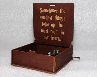 "Harry Potter - Sometimes The Smallest Things Take Up The Most Room In Our Hearts - Engraved Wooden Music Box - ""Harry's Wondrous World"""