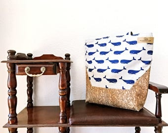 Canvas bags - shopper with Whale motif and Cork fabric