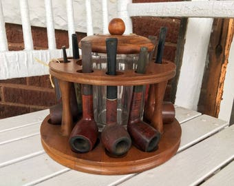 9 Slot Pipe Rack with Glass Humidor and 9 Pipes