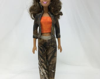 "Camouflage Doll Clothes-11.5"" Doll Clothes-Fashion Doll Clothes-Orange Camo-Brown Camouflage Doll Clothes-Handmade-Girls Birthday Gift-Toys"