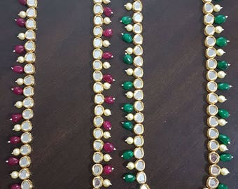 Gorgeous Indian single beaded layer long kundan bridal / non-bridal necklace haar