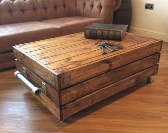 Large Reclaimed Solid Wood Rustic Vintage Industrial Waxed Shabby Chic  Coffee Table