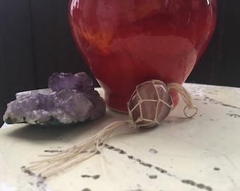 Macrame stone charm