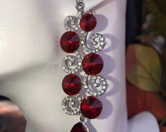 Bright Red Swirl Crystal Chandelier Earrings