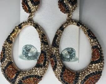 Animal Print Crystal Earrings