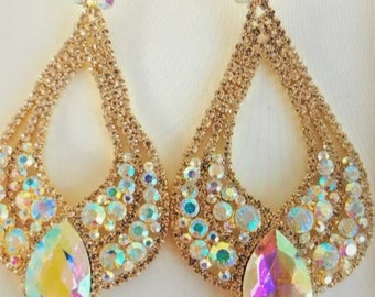 AB Teardrop Austrian Crystal Pageant  Earrings