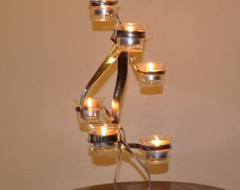 (10) wrought iron candle holder