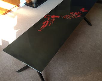 Banksy girl with butterflies epoxy resin coffee table