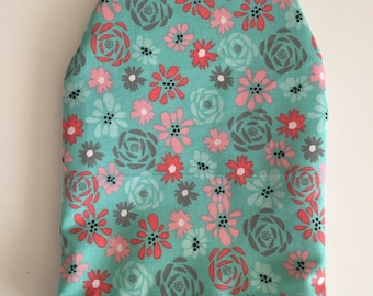 Ready to ship, ostomy bag cover , floral pattern, solid grey on the back