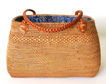 Large Ata Basket Handbag with Leather Handles