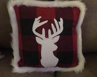 Christmas Pillow w/ deerhead silhouette