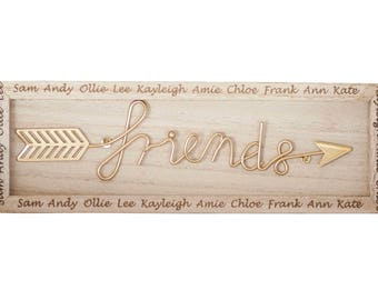 Boho Style Wooden Friends Plaque with Personalised Names