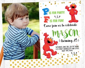 elmo invitations etsy - Elmo Birthday Party Invitations