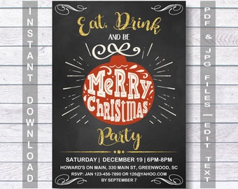 Christmas Invitation, Christmas Party Invitation, Instant Download, Editable Christmas Party template, Eat, Drink And Be Merry Christmas