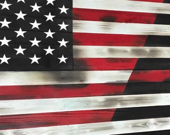 Thin Red Line Wood American Flag Handcrafted Torn Burnt Distressed