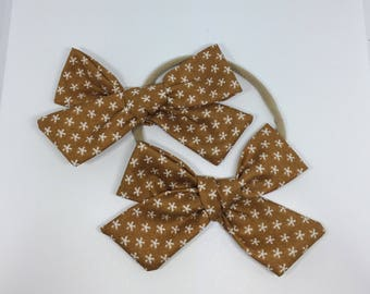 Butterscotch Chunky Knot Fabric Bow and Soft Nylon Headband