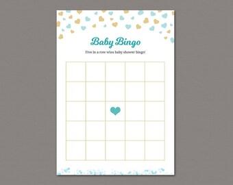 Baby Bingo Game Printable, Boy baby Shower Bingo Cards, Gold Blue Hearts Confetti, Empty Bingo Cards, Shower Activity, SBS1