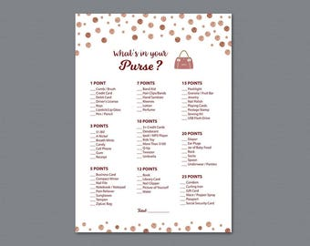 Whats in Your Purse, Baby Shower Games Printable, Rose Gold Dots, Confetti, Purse Raid, Purse Hunt, What's In Your Bag, Dark Red, B012