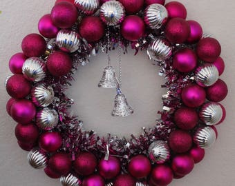 Pink and Silver Wreath