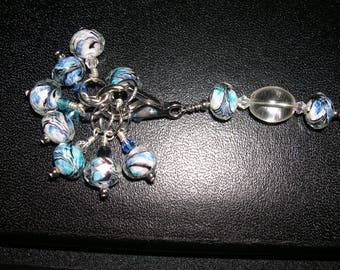Clear Blue Marble Stitch Marker