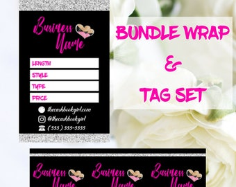 Super Cute Bundle Wrap & Hair Tag Design Set | Add Your Own Logo | Digital Product | Digital Product