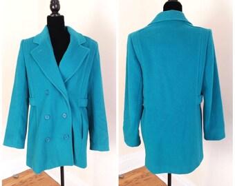 green wool coat teal coat warm winter coat, vintage wool coat 1970s teal coat women's dress coat, women's xl