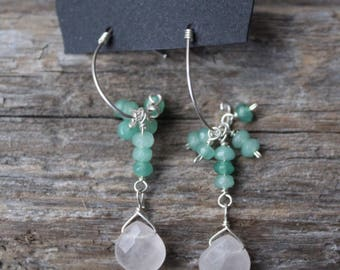 Faceted Rose Quartz Teardrop - Rondelle Faceted Green Dyed Jade Cluster - Sterling Silver Ear Post - Sterling Silver Wire