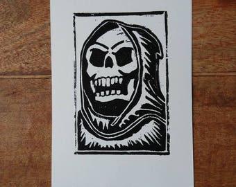 Skeletor Linocut Print