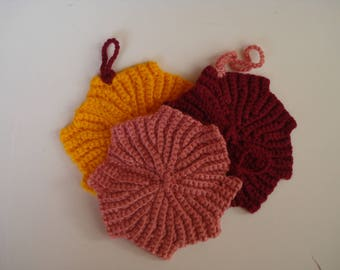 Crochet  Dishcloth (Set of Three), Crochet Maple Leaf Shaped Dishcloth, Acrylic Dish Scrubber, Colorful Dishcloth, Christmas gift