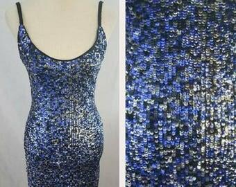 Vintage Lillie Rubin Blue/Black/ Silver Sequined Dress