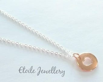 Rose Gold Heart Necklace, Silver Chain, Silver Necklace, Necklaces for Women, Silver Jewellery, Gifts for Women