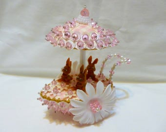 Vintage Easter Panorama Ornament Jeweled Bead Sequin Bunny Egg Cart Finished Walco Lee Ward Kit Diorama Completed Pink Gingham Daisies