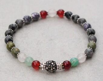 Agate Jasper Hrisoikola Beaded Bracelet Girlfriend Gift For Her Gemstone Bracelet 6 mm Beads bracelet Bracelet Tribal Yoga Ethnic Mala Gypsy